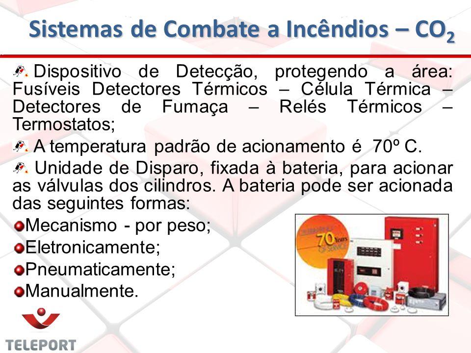 Sistemas de Combate a Incêndios – CO 2 Componentes principais: Sistema de tubulações e nebulizadores para conduzir o agente extintor até a área do fog