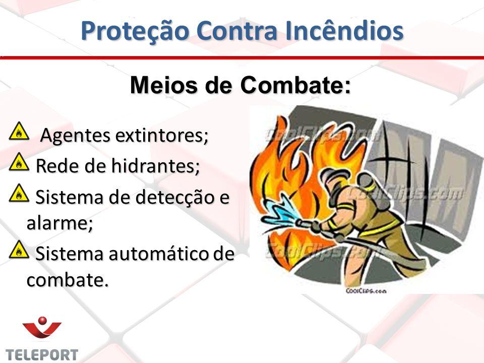 Proteção Contra Incêndios Meios de Combate: Agentes extintores; Agentes extintores; Rede de hidrantes; Rede de hidrantes; Sistema de detecção e alarme; Sistema de detecção e alarme; Sistema automático de combate.