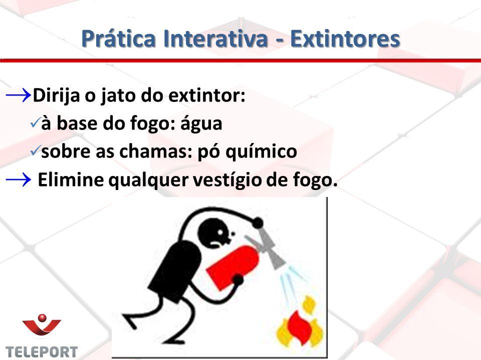 Prática Interativa - Extintores Escolha o tipo de extintor adequado para o tipo de incêndio; Remova a trava do gatilho; Aperte o gatilho e aproxime-se