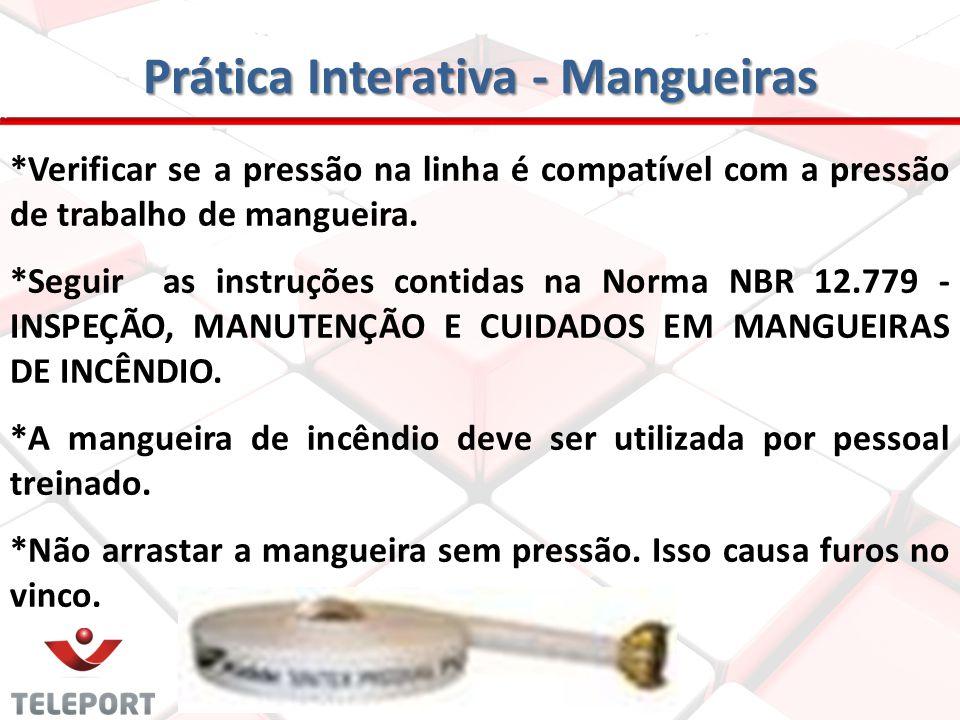 Prática Interativa - Mangueiras São necessárias, no mínimo, duas pessoas para manusear a mangueira de um hidrante. A mangueira deve ser acondicionada