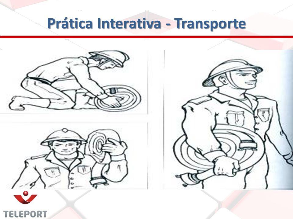 Prática Interativa - Transporte Segundo método: Nesse caso a mangueira é transportada e apoiada sobre a palma da mão, com o braço estendido próximo ao