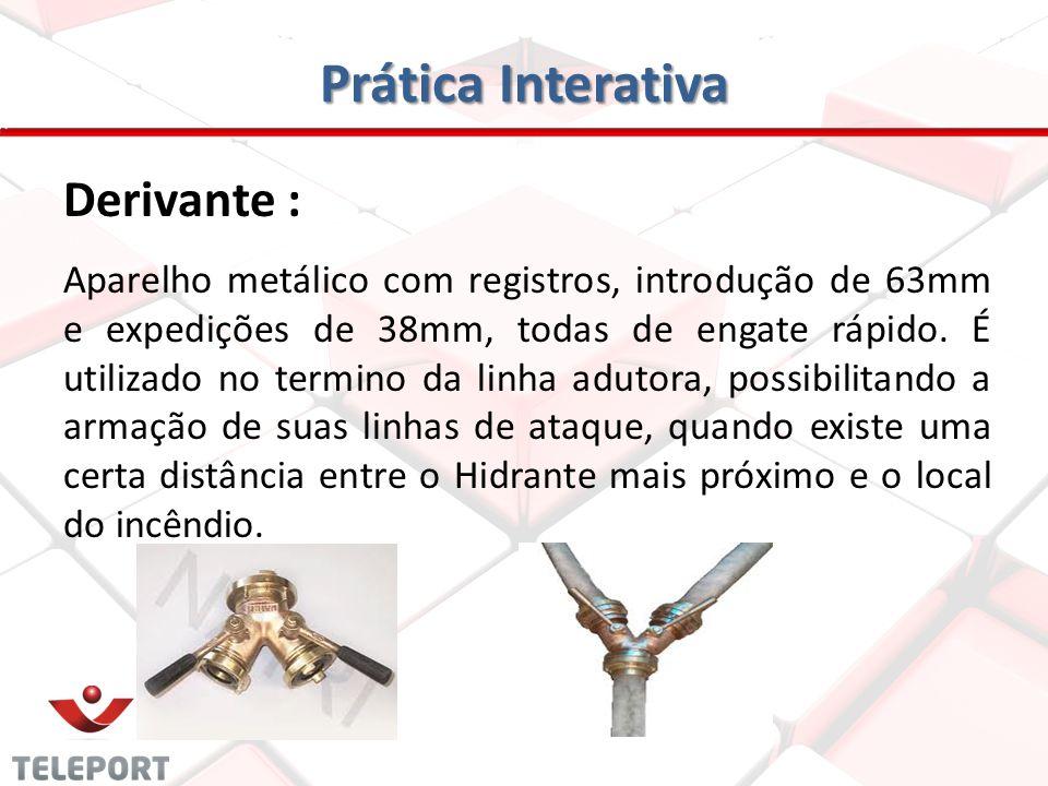Prática Interativa Redução: É uma peça metálica de engate rápido, utilizada para reduzir o diâmetro dos hidrantes ou mangueiras de 63mm para 38mm.