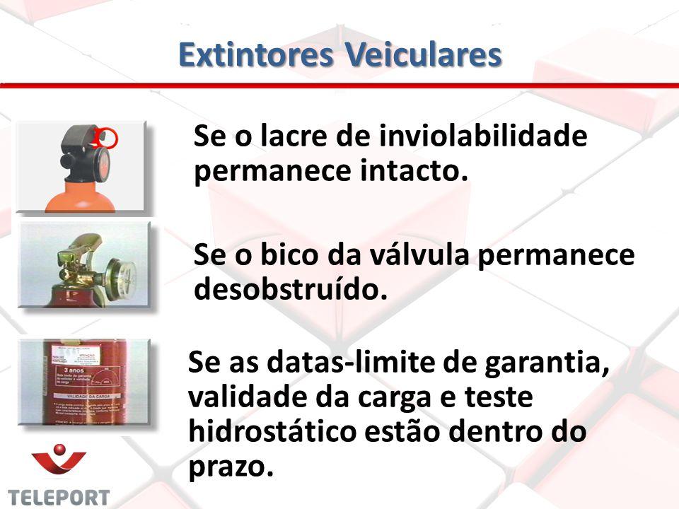 Extintores Veiculares Mensalmente ou sempre que possível, ele deve dar uma olhadinha no extintor, verificando: Se o ponteiro de indicador de pressão n