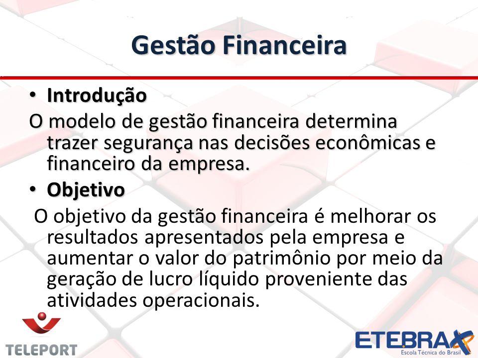 Gestão Financeira Introdução Introdução O modelo de gestão financeira determina trazer segurança nas decisões econômicas e financeiro da empresa. Obje