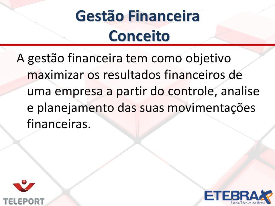 Gestão Financeira Conceito A gestão financeira tem como objetivo maximizar os resultados financeiros de uma empresa a partir do controle, analise e pl
