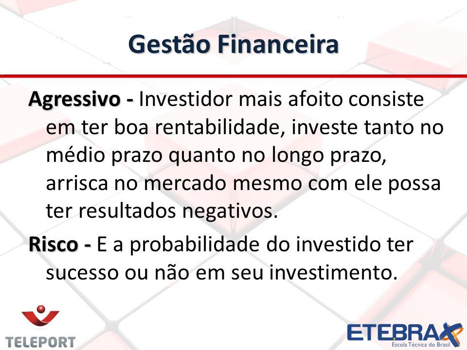Gestão Financeira Agressivo - Agressivo - Investidor mais afoito consiste em ter boa rentabilidade, investe tanto no médio prazo quanto no longo prazo