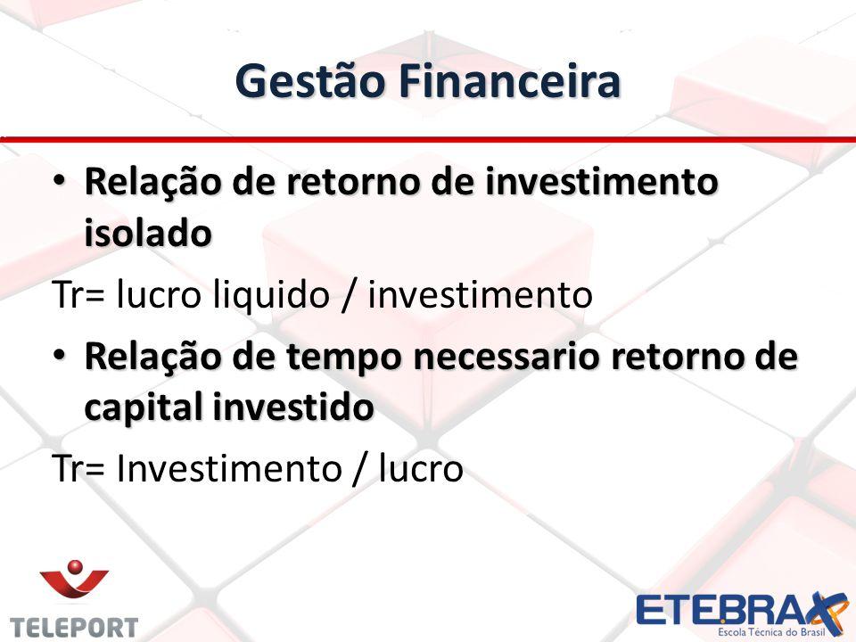 Gestão Financeira Relação de retorno de investimento isolado Relação de retorno de investimento isolado Tr= lucro liquido / investimento Relação de te