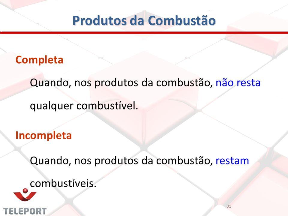 Produtos da Combustão 01 Completa Quando, nos produtos da combustão, não resta qualquer combustível. Incompleta Quando, nos produtos da combustão, res