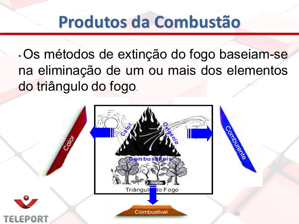 01 Produtos da Combustão Os métodos de extinção do fogo baseiam-se na eliminação de um ou mais dos elementos do triângulo do fogo.