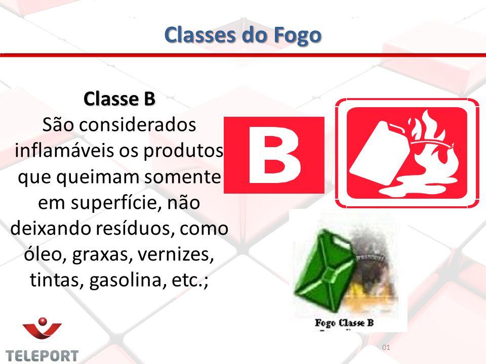 Classes do Fogo Classe B São considerados inflamáveis os produtos que queimam somente em superfície, não deixando resíduos, como óleo, graxas, vernize