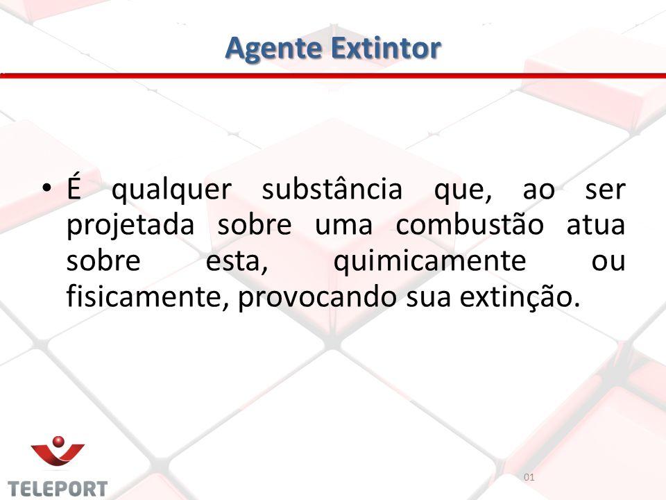 Agente Extintor 01 É qualquer substância que, ao ser projetada sobre uma combustão atua sobre esta, quimicamente ou fisicamente, provocando sua extinç