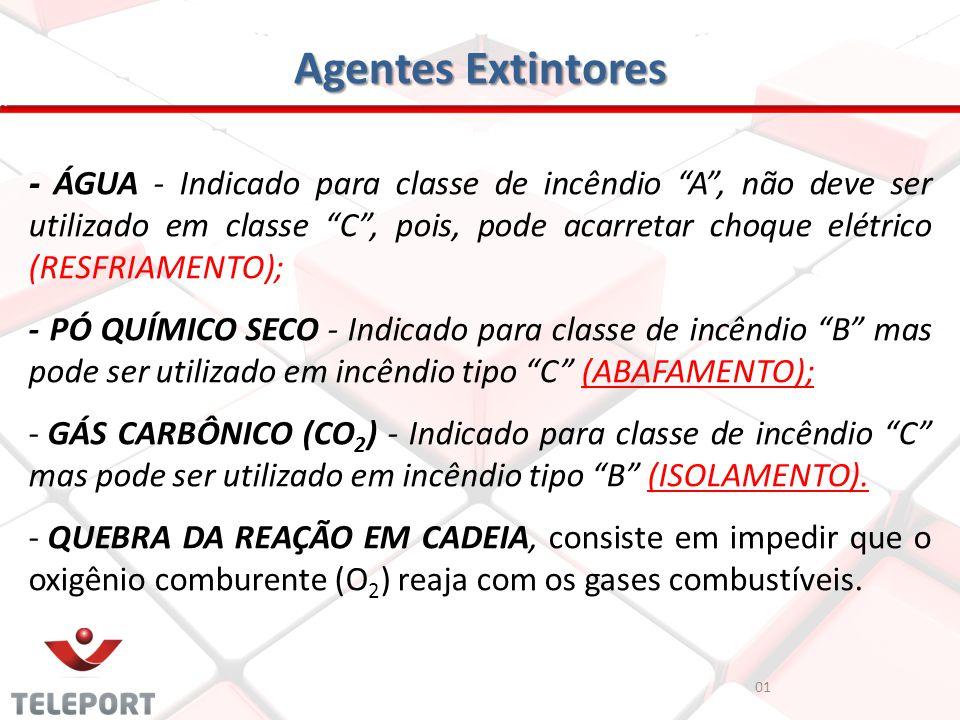 Agentes Extintores 01 - ÁGUA - Indicado para classe de incêndio A, não deve ser utilizado em classe C, pois, pode acarretar choque elétrico (RESFRIAME