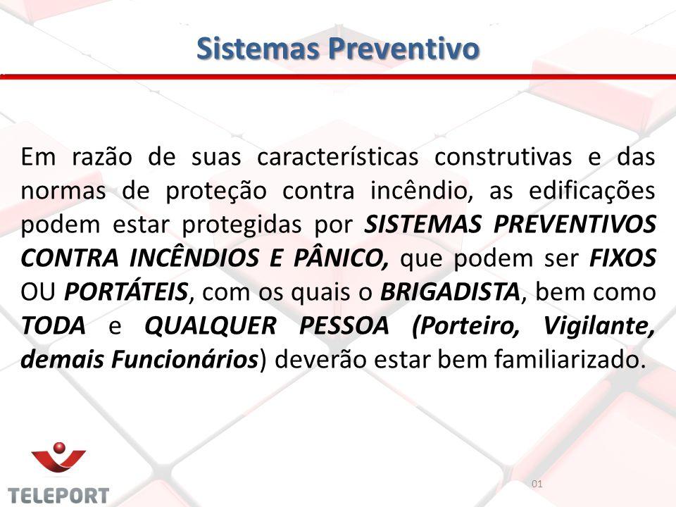 01 Sistemas Preventivo Em razão de suas características construtivas e das normas de proteção contra incêndio, as edificações podem estar protegidas p