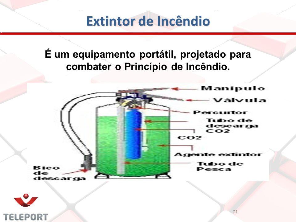 Extintor de Incêndio 01 É um equipamento portátil, projetado para combater o Princípio de Incêndio.