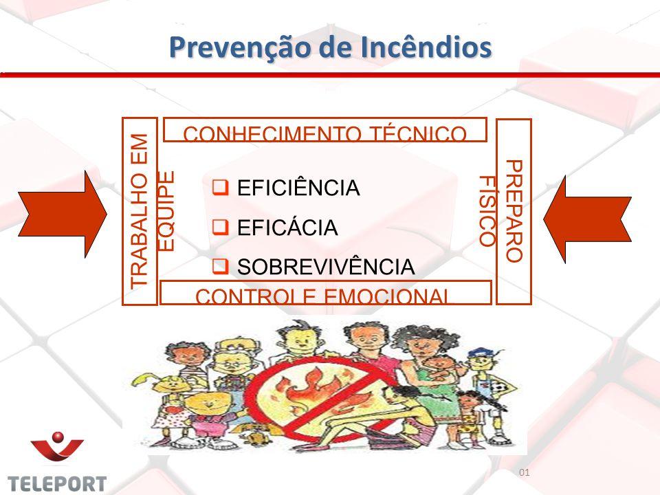 Prevenção de Incêndios 01 EFICIÊNCIA EFICÁCIA SOBREVIVÊNCIA CONHECIMENTO TÉCNICO PREPARO FÍSICO CONTROLE EMOCIONAL TRABALHO EM EQUIPE
