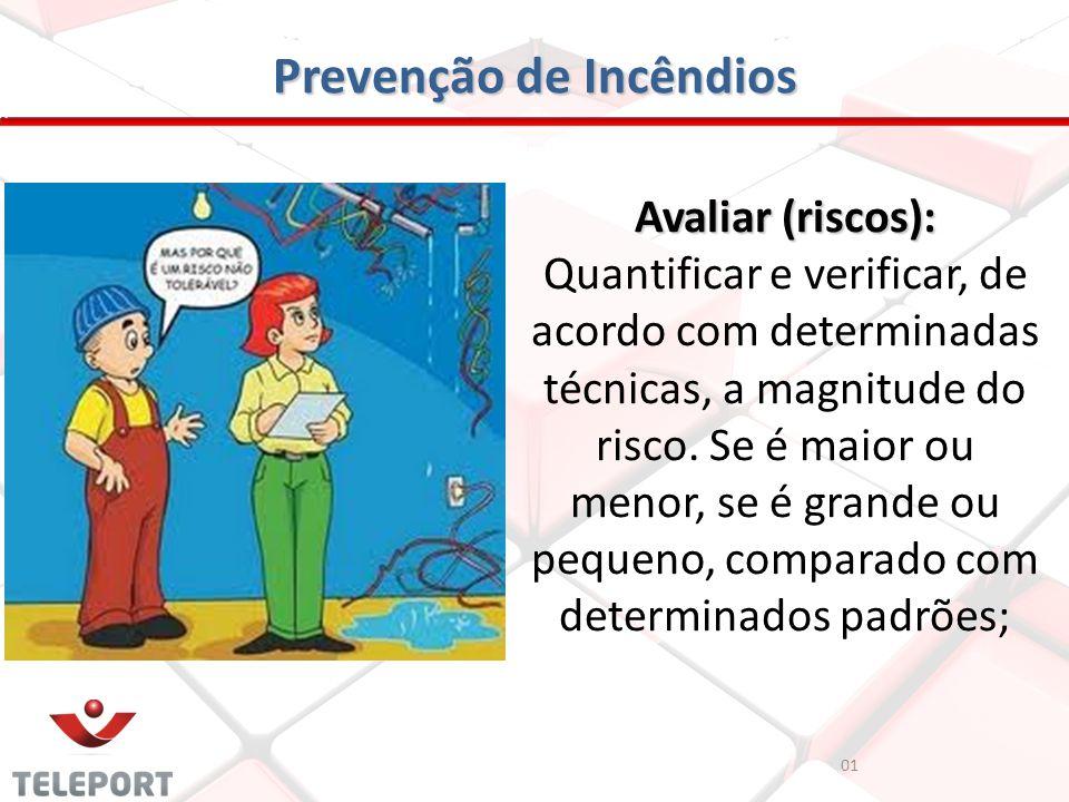 Prevenção de Incêndios Avaliar (riscos): Avaliar (riscos): Quantificar e verificar, de acordo com determinadas técnicas, a magnitude do risco. Se é ma