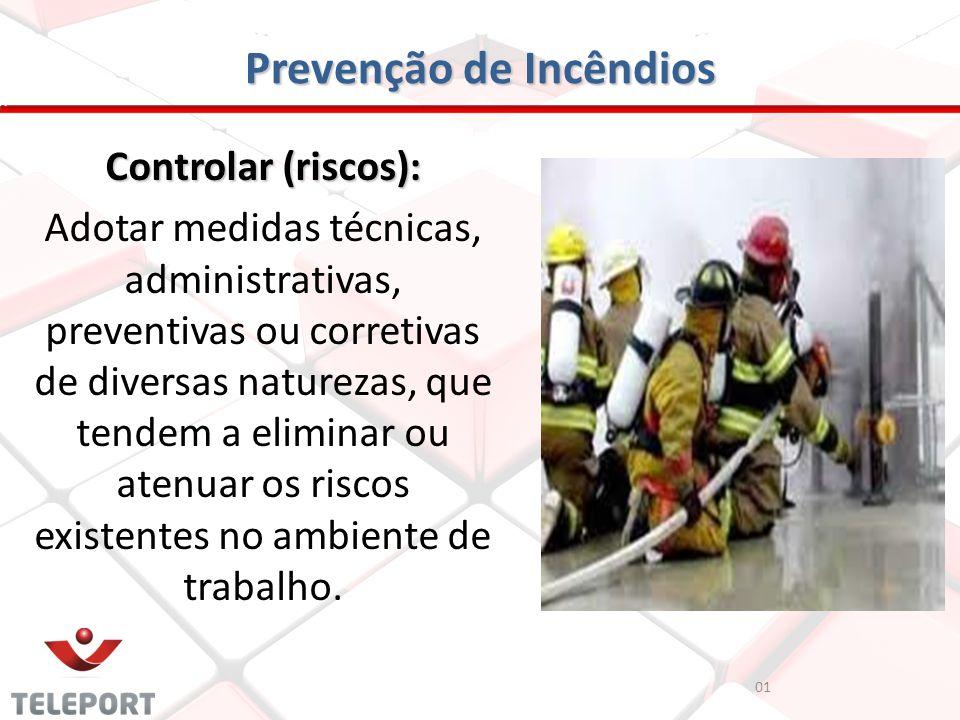 Prevenção de Incêndios Controlar (riscos): Adotar medidas técnicas, administrativas, preventivas ou corretivas de diversas naturezas, que tendem a eli