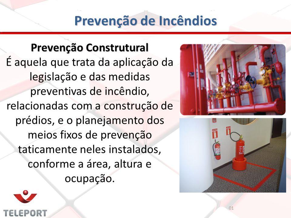 Prevenção de Incêndios Prevenção Construtural É aquela que trata da aplicação da legislação e das medidas preventivas de incêndio, relacionadas com a