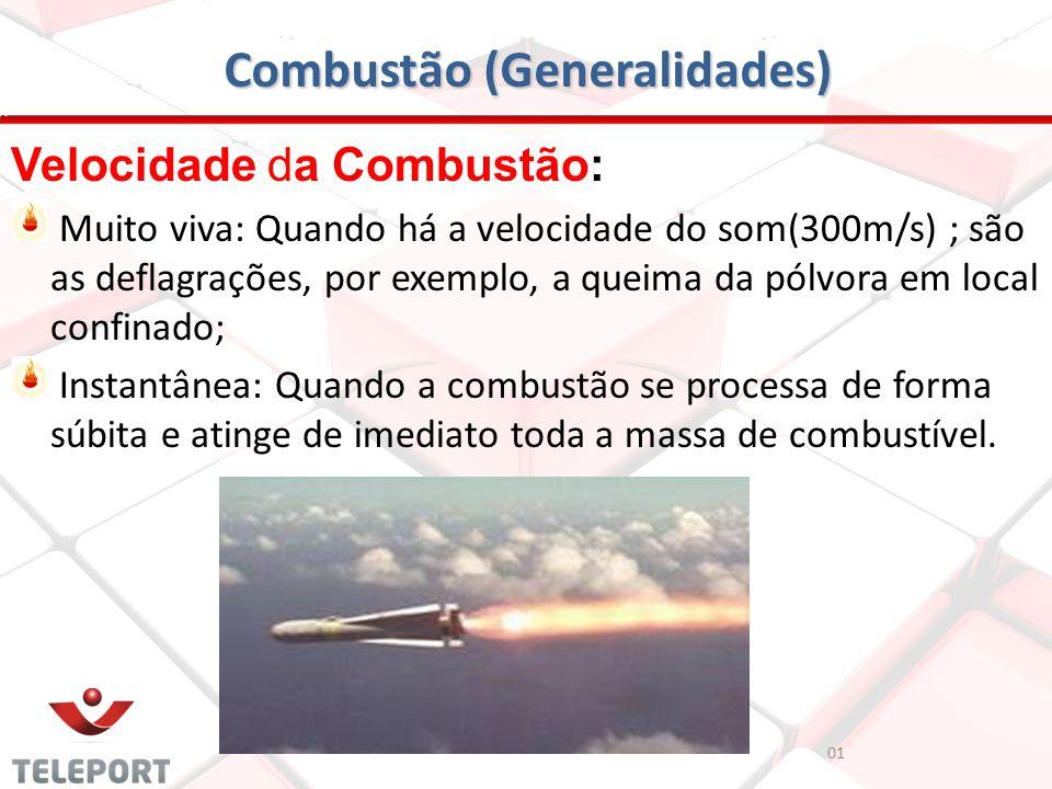 Combustão (Generalidades) Velocidade da Combustão: Muito viva: Quando há a velocidade do som(300m/s) ; são as deflagrações, por exemplo, a queima da p