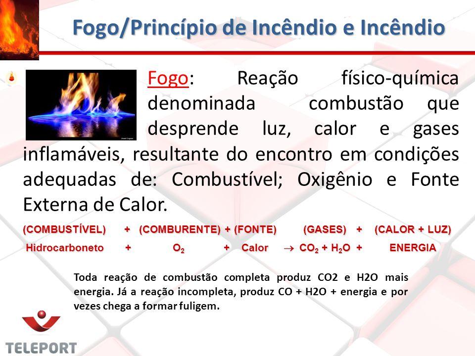 Fogo/Princípio de Incêndio e Incêndio Fogo: Reação físico-química denominada combustão que desprende luz, calor e gases inflamáveis, resultante do enc
