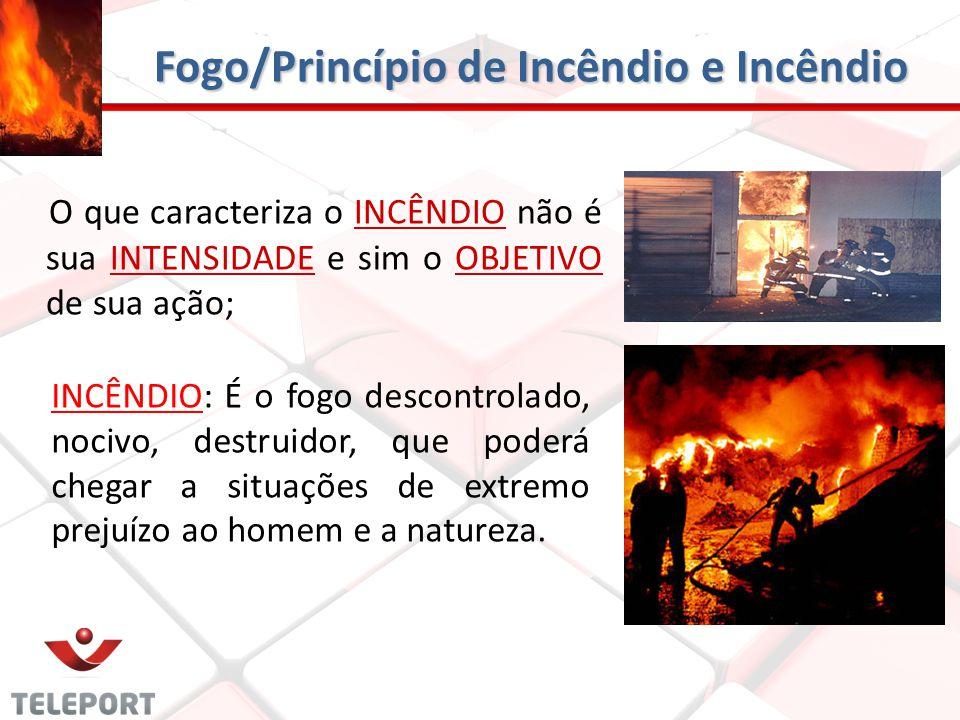 O que caracteriza o INCÊNDIO não é sua INTENSIDADE e sim o OBJETIVO de sua ação; Fogo/Princípio de Incêndio e Incêndio INCÊNDIO: É o fogo descontrolad