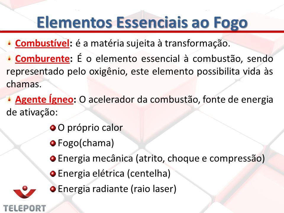 Elementos Essenciais ao Fogo Combustível: é a matéria sujeita à transformação. Comburente: É o elemento essencial à combustão, sendo representado pelo