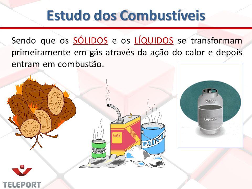 Estudo dos Combustíveis Sendo que os SÓLIDOS e os LÍQUIDOS se transformam primeiramente em gás através da ação do calor e depois entram em combustão.