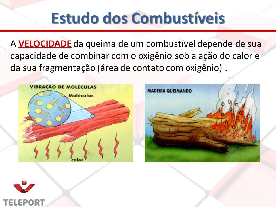Estudo dos Combustíveis A VELOCIDADE da queima de um combustível depende de sua capacidade de combinar com o oxigênio sob a ação do calor e da sua fra