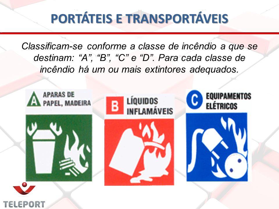 PORTÁTEIS E TRANSPORTÁVEIS Classificam-se conforme a classe de incêndio a que se destinam: A, B, C e D. Para cada classe de incêndio há um ou mais ext