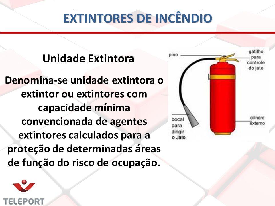 EXTINTORES DE INCÊNDIO Unidade Extintora Denomina-se unidade extintora o extintor ou extintores com capacidade mínima convencionada de agentes extinto
