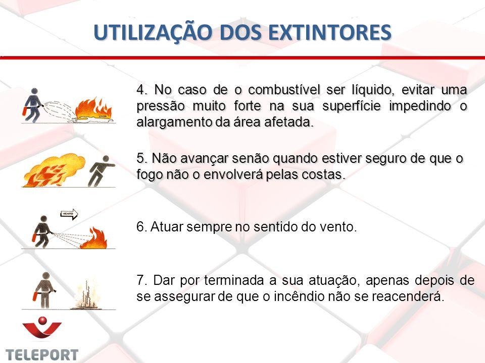 UTILIZAÇÃO DOS EXTINTORES 4. No caso de o combustível ser líquido, evitar uma pressão muito forte na sua superfície impedindo o alargamento da área af