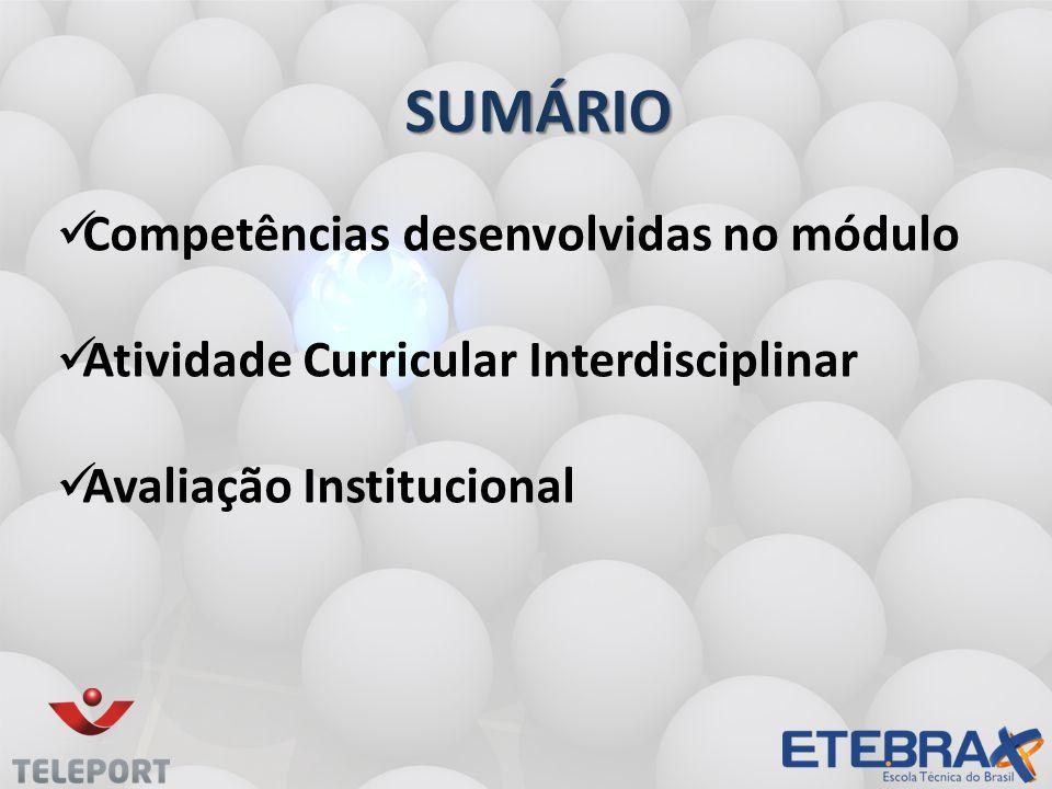SUMÁRIO Competências desenvolvidas no módulo Atividade Curricular Interdisciplinar Avaliação Institucional