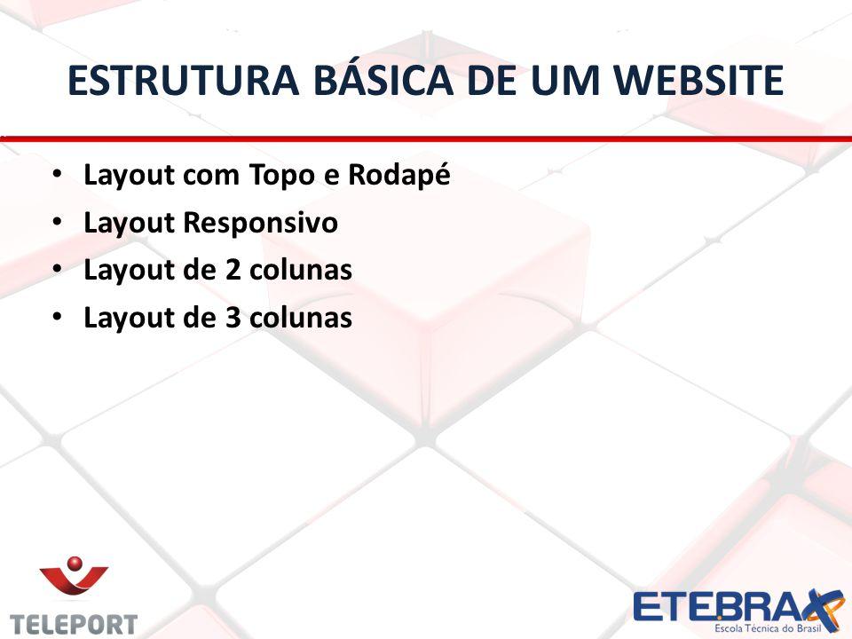 ESTRUTURA BÁSICA DE UM WEBSITE Layout com Topo e Rodapé Layout Responsivo Layout de 2 colunas Layout de 3 colunas