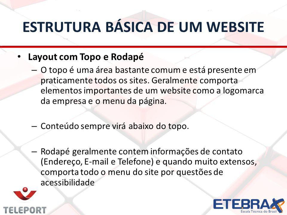 ESTRUTURA BÁSICA DE UM WEBSITE Layout com Topo e Rodapé – O topo é uma área bastante comum e está presente em praticamente todos os sites. Geralmente