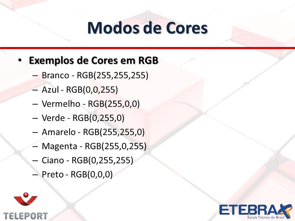 Modos de Cores Exemplos de Cores em RGB Exemplos de Cores em RGB – Branco - RGB(255,255,255) – Azul - RGB(0,0,255) – Vermelho - RGB(255,0,0) – Verde -