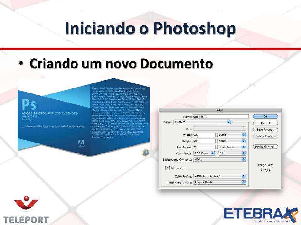 Iniciando o Photoshop Criando um novo Documento Criando um novo Documento
