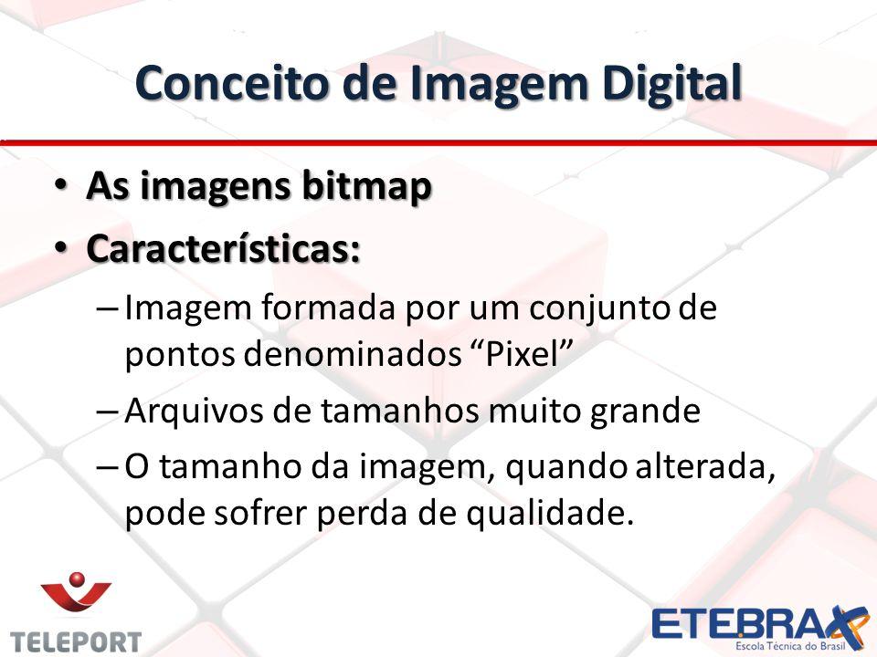 Conceito de Imagem Digital As imagens bitmap As imagens bitmap Características: Características: – Imagem formada por um conjunto de pontos denominado