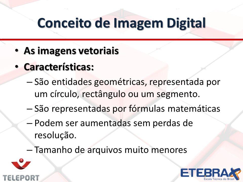 Conceito de Imagem Digital As imagens vetoriais As imagens vetoriais Características: Características: – São entidades geométricas, representada por u