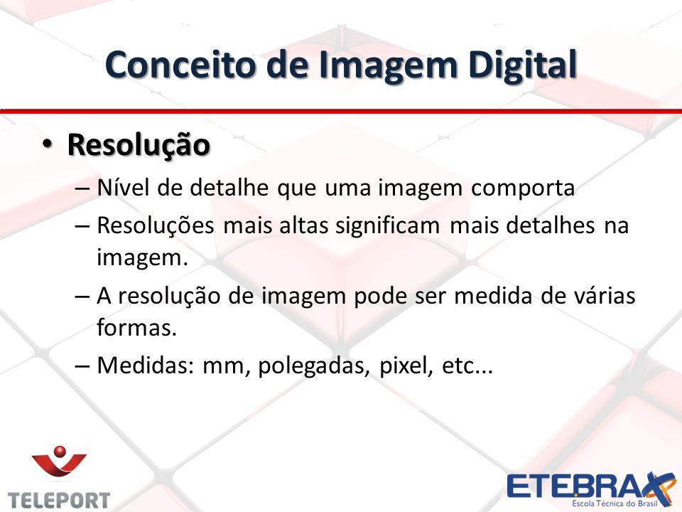 Conceito de Imagem Digital Resolução Resolução – Nível de detalhe que uma imagem comporta – Resoluções mais altas significam mais detalhes na imagem.