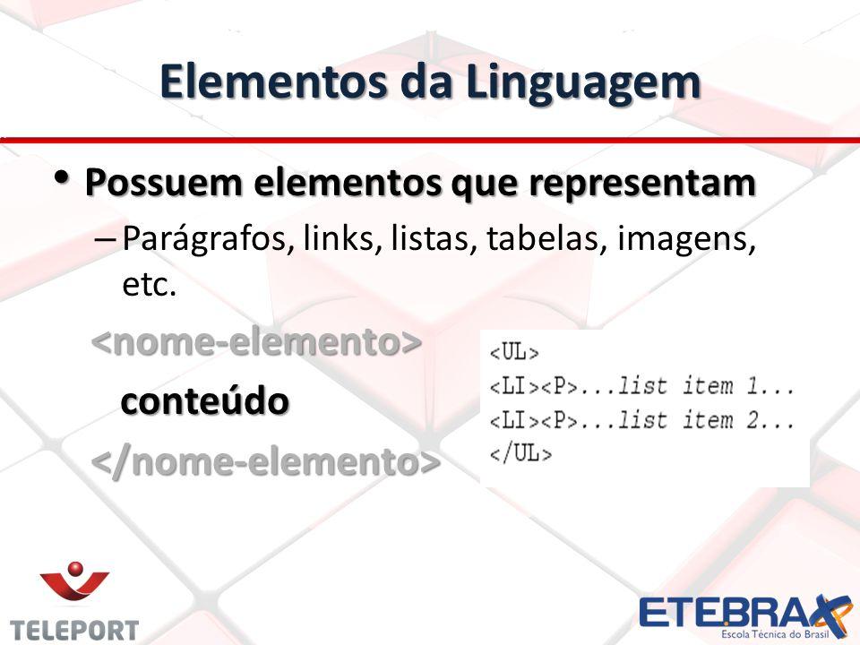 Elementos da Linguagem Possuem elementos que representam Possuem elementos que representam – Parágrafos, links, listas, tabelas, imagens, etc. conteúd