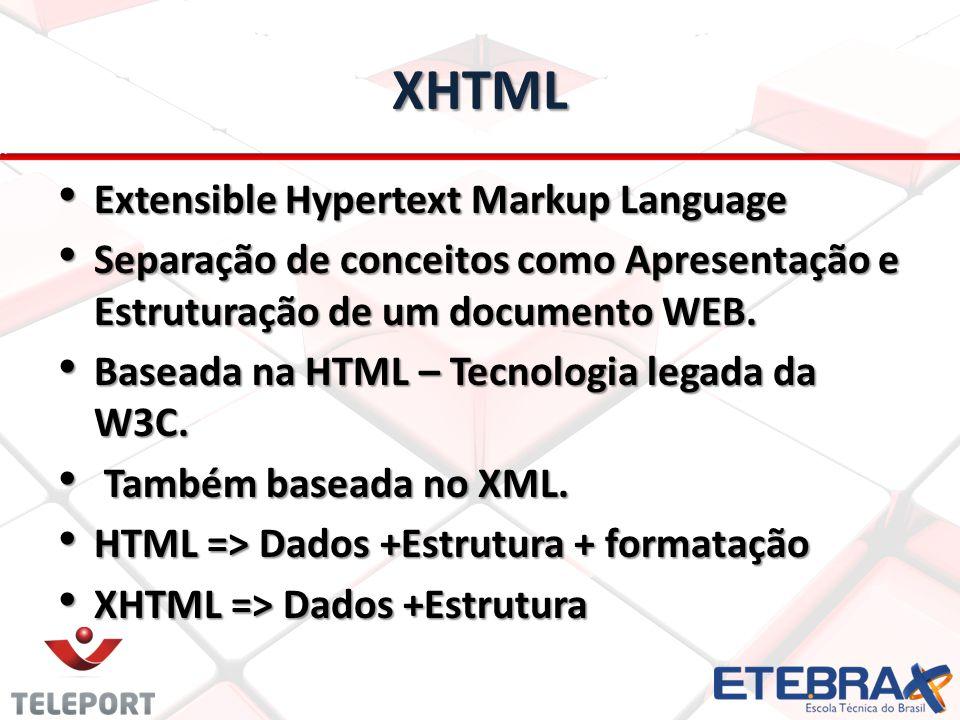 XHTML Extensible Hypertext Markup Language Extensible Hypertext Markup Language Separação de conceitos como Apresentação e Estruturação de um document