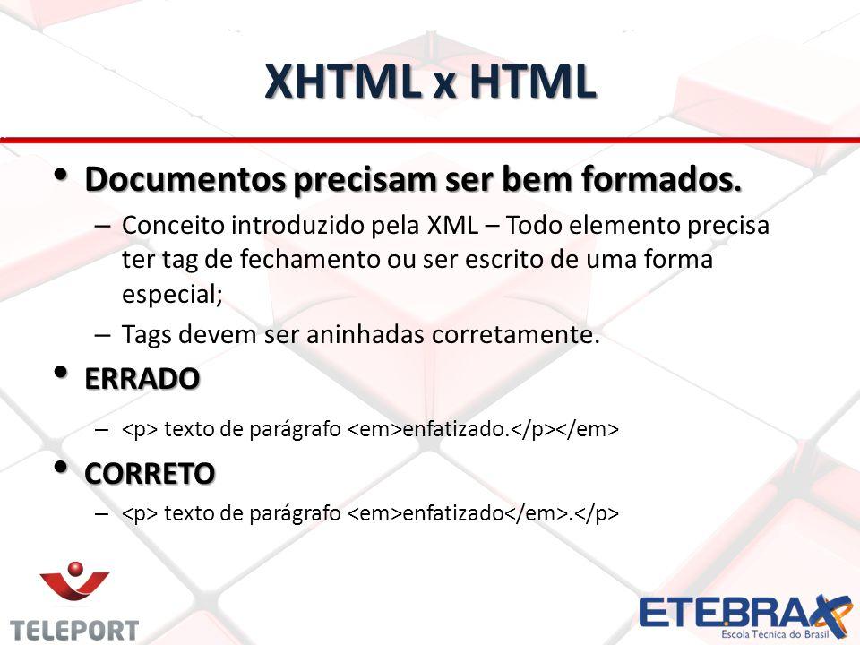 XHTML x HTML Documentos precisam ser bem formados. Documentos precisam ser bem formados. – Conceito introduzido pela XML – Todo elemento precisa ter t