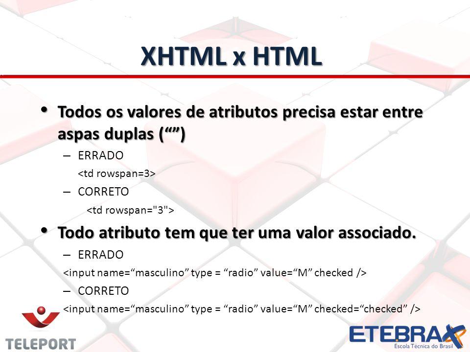 XHTML x HTML Todos os valores de atributos precisa estar entre aspas duplas () Todos os valores de atributos precisa estar entre aspas duplas () – ERR