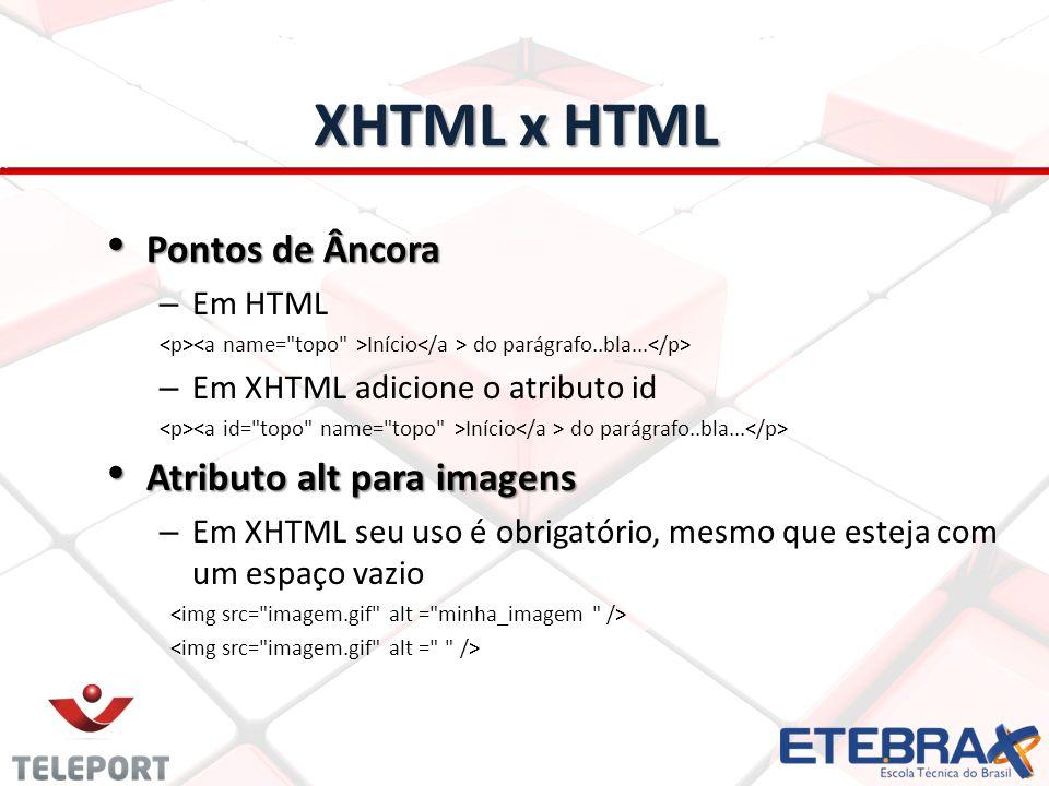 XHTML x HTML Pontos de Âncora Pontos de Âncora – Em HTML Início do parágrafo..bla... – Em XHTML adicione o atributo id Início do parágrafo..bla... Atr