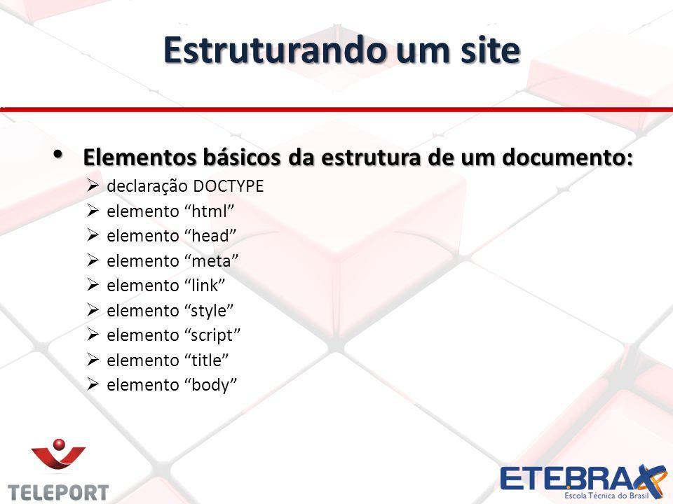 Estruturando um site Elementos básicos da estrutura de um documento: Elementos básicos da estrutura de um documento: declaração DOCTYPE elemento html