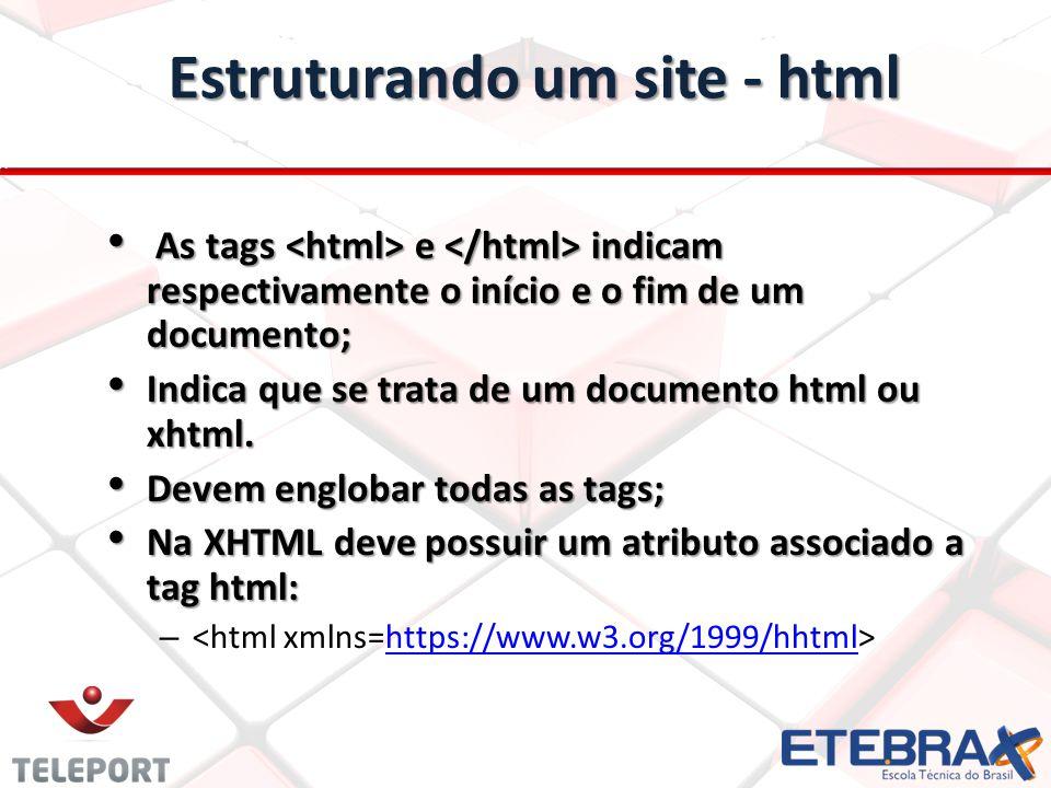 Estruturando um site - html As tags e indicam respectivamente o início e o fim de um documento; As tags e indicam respectivamente o início e o fim de
