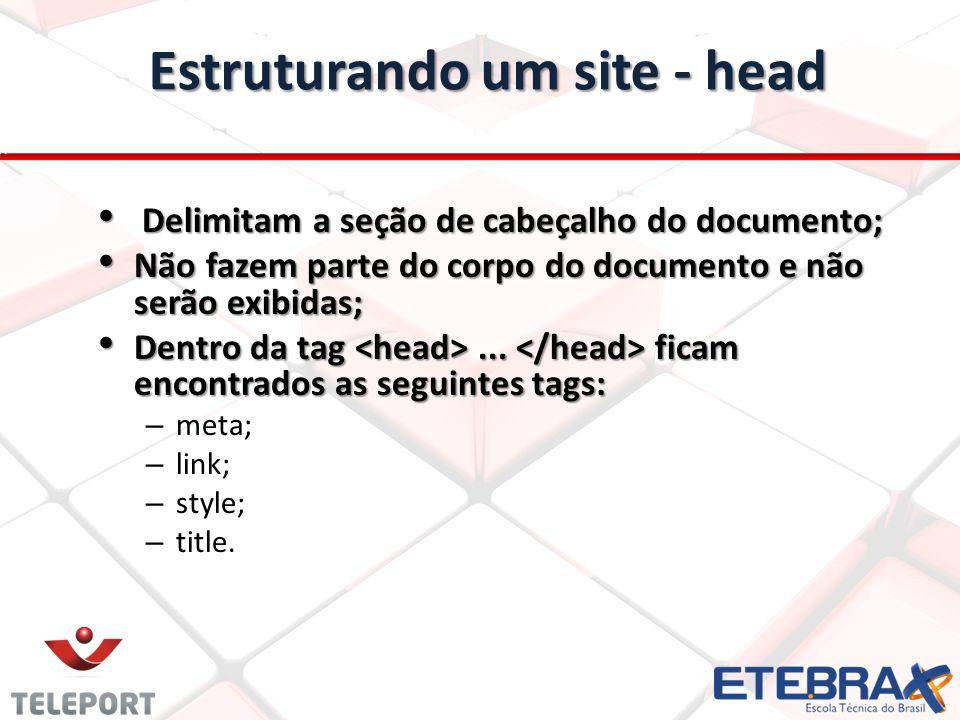 Estruturando um site - head Delimitam a seção de cabeçalho do documento; Delimitam a seção de cabeçalho do documento; Não fazem parte do corpo do docu