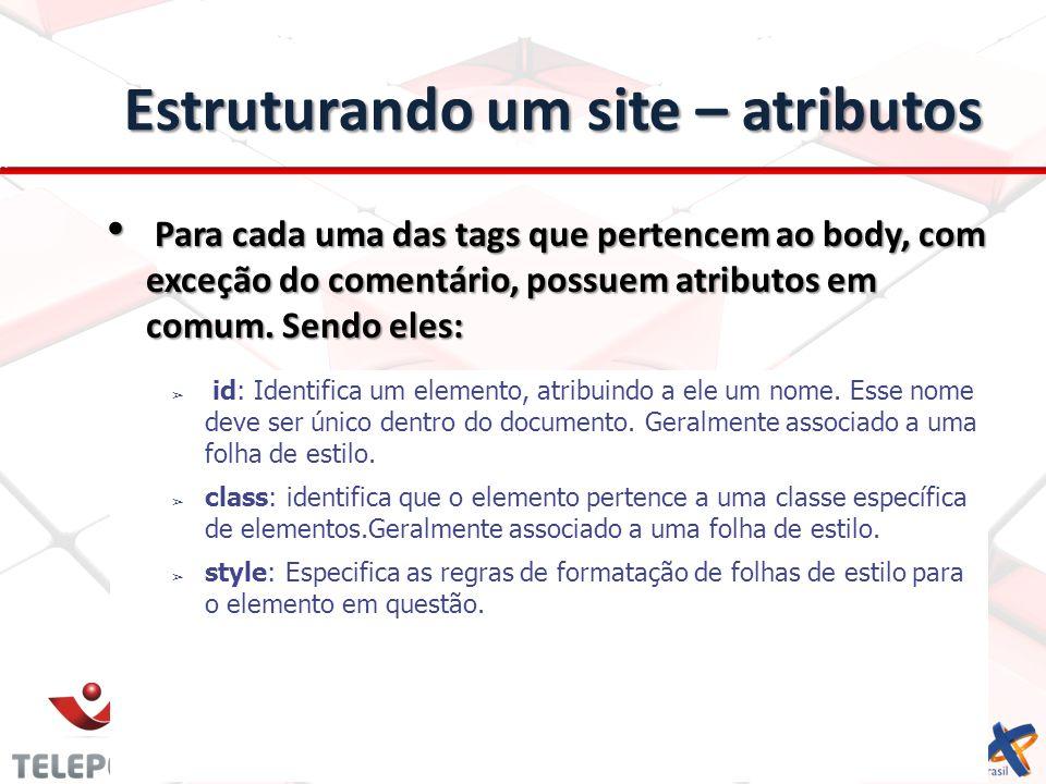 Estruturando um site – atributos Para cada uma das tags que pertencem ao body, com exceção do comentário, possuem atributos em comum. Sendo eles: Para
