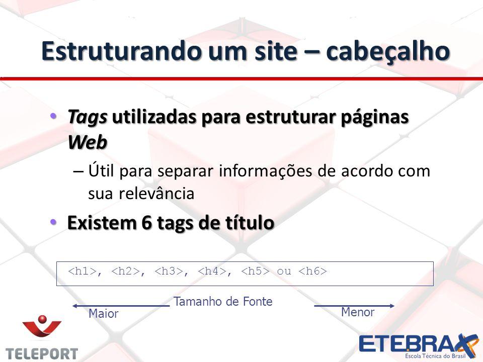 Estruturando um site – cabeçalho Tags utilizadas para estruturar páginas Web Tags utilizadas para estruturar páginas Web – Útil para separar informaçõ