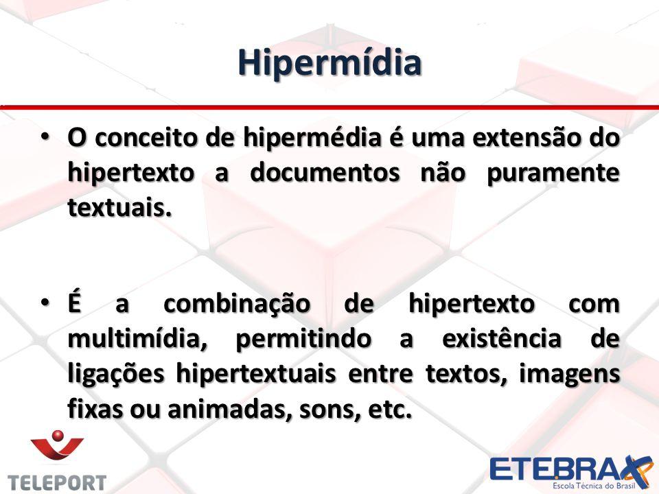 Hipermídia O conceito de hipermédia é uma extensão do hipertexto a documentos não puramente textuais. O conceito de hipermédia é uma extensão do hiper